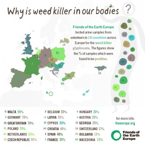 Il colore indica la percentuale riscontrata in ogni paese